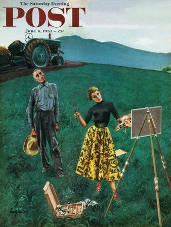 """Farmer and Female Artist in Field"" Saturday Evening Post Cover, June 6, 1953"