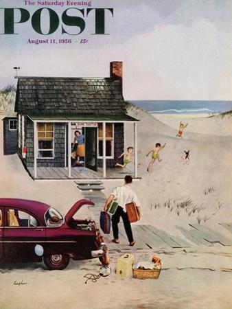 """First Day at the Beach"" Saturday Evening Post Cover, August 11, 1956 by George Hughes"
