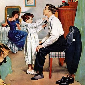 """""""Fixing Father's Tie"""", December 31, 1955 by George Hughes"""