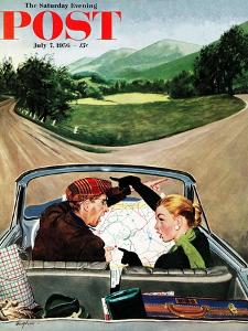 """""""Fork in the Road"""" Saturday Evening Post Cover, July 7, 1956 by George Hughes"""