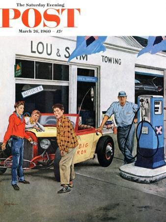 """""""Gas Money,"""" Saturday Evening Post Cover, March 26, 1960 by George Hughes"""