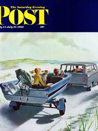 """""""Highway Boatride,"""" Saturday Evening Post Cover, July 14, 1962"""