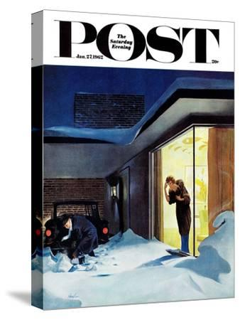 """""""Late for Party Due to Snow,"""" Saturday Evening Post Cover, January 27, 1962"""