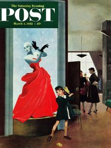 """Mannequin"" Saturday Evening Post Cover, March 1, 1952 by George Hughes"