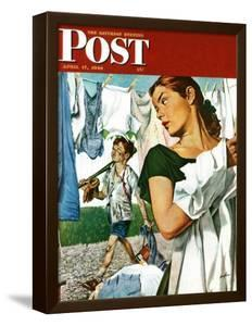 """More Clothes to Clean,"" Saturday Evening Post Cover, April 17, 1948 by George Hughes"