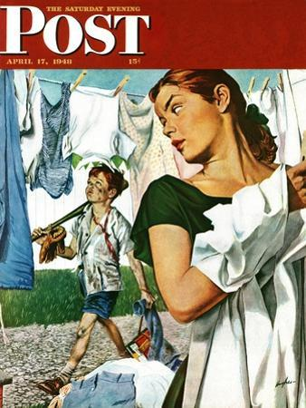 """""""More Clothes to Clean,"""" Saturday Evening Post Cover, April 17, 1948 by George Hughes"""