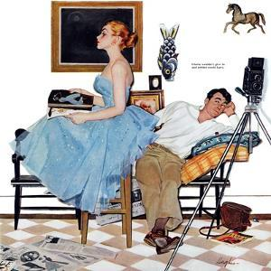 """One Way Affair  - Saturday Evening Post """"Leading Ladies"""", September 10, 1955 pg.23 by George Hughes"""