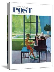 """Poolside Piano Practice,"" Saturday Evening Post Cover, June 11, 1960 by George Hughes"