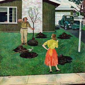 """""""Put the Tree There?"""", April 9, 1955 by George Hughes"""