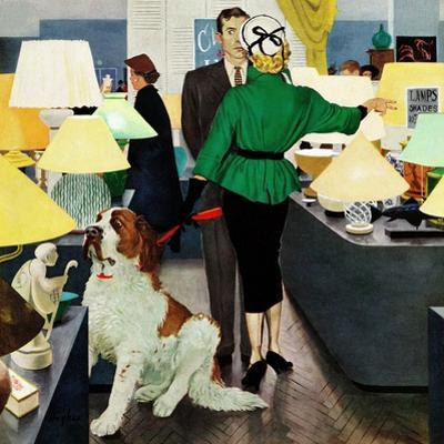 """St. Bernard in Lamp Shop"", October 25, 1952 by George Hughes"