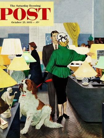 """St. Bernard in Lamp Shop"" Saturday Evening Post Cover, October 25, 1952"