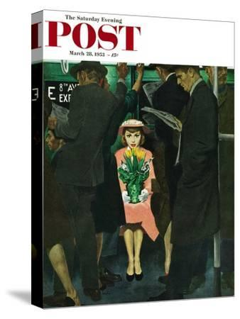 """Subway Girl and Easter Lily"" Saturday Evening Post Cover, March 28, 1953"