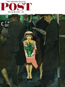"""""""Subway Girl and Easter Lily"""" Saturday Evening Post Cover, March 28, 1953 by George Hughes"""