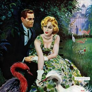 """The Business of Love - Saturday Evening Post """"Leading Ladies"""", April 6, 1957 pg.26 by George Hughes"""