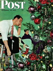 """Trimming the Tree,"" Saturday Evening Post Cover, December 24, 1949 by George Hughes"