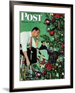 """""""Trimming the Tree,"""" Saturday Evening Post Cover, December 24, 1949 by George Hughes"""