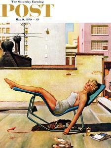 """""""Up On the Roof"""" Saturday Evening Post Cover, May 9, 1959 by George Hughes"""