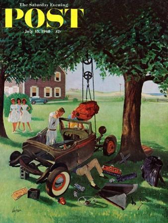 """Working on the Jalopy,"" Saturday Evening Post Cover, July 15, 1961"