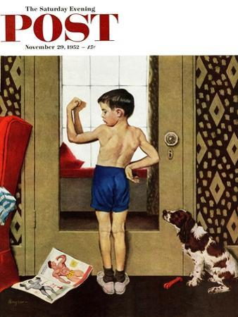 """""""Young Charles Atlas"""" Saturday Evening Post Cover, November 29, 1952 by George Hughes"""