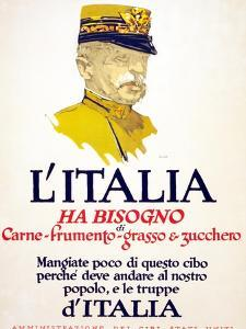 Italy Has Need of Meat, Wheat, Fat, and Sugar, 1917 by George Illian