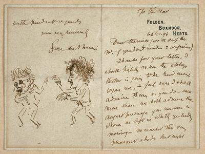 Letter with Drawing of Whistler Menacing Du Maurier, 1894