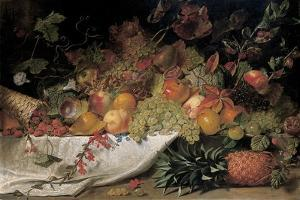 Fruit and Flowers on a Stone Ledge, 1829 by George Lance