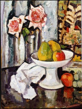 Still Life with Bowl of Fruit and a Vase of Pink Roses