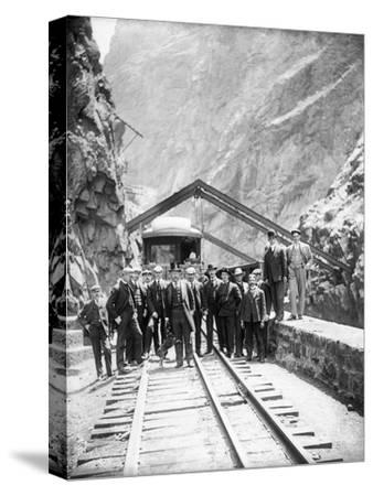 Hanging Bridge - President Theodore Roosevelt and Party in the Royal Gorge of the Arkansas River,…