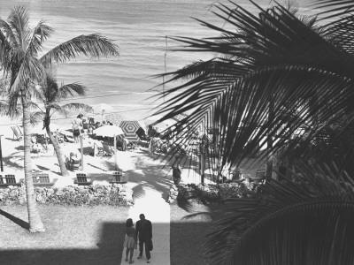 Couple Walking in Path Towards Beach, (B&W), Elevated View