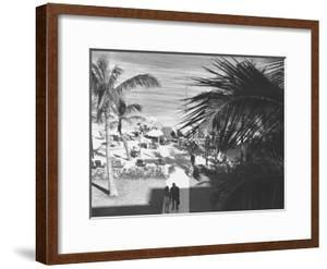 Couple Walking in Path Towards Beach, (B&W), Elevated View by George Marks