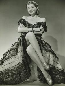 Glamorous Woman in Evening Gown Showing Legs, Portrait by George Marks