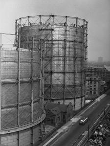 Large Grain Silos, (High Angle View) by George Marks