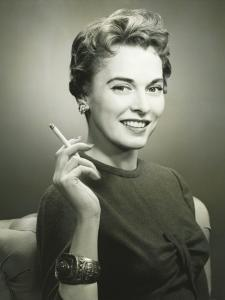 Profile of Smiling Woman Holding Cigarette, Portrait by George Marks