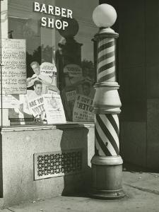 Striped Barber Pole Outside Shop by George Marks