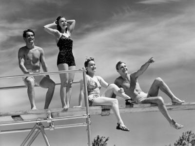 Two Couples on Diving Board