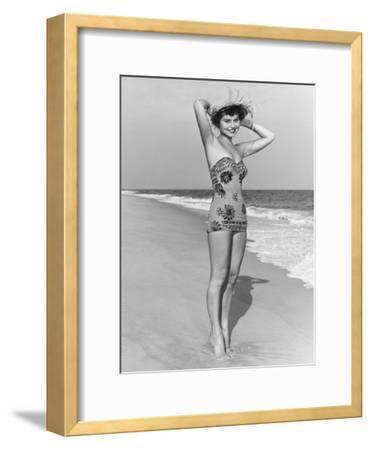 Woman in Swimsuit Posing on Beach, Portrait