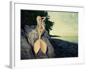 Beautiful Fashionable Mermaid Sitting On A Rock By The Sea by George Mayer