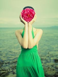 Surreal Portrait Of A Woman With A Flower Instead Of A Face by George Mayer