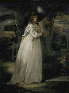 Portrait of a Girl in a Garden, C.1786-88 by George Morland