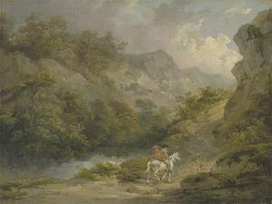 Rocky Landscape with Two Men on a Horse, 1791 by George Morland