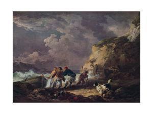 'Seashore: Fishermen Hauling in a Boat', 1791 by George Morland
