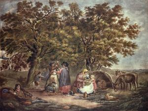 The Gipsies Tent, Engraved by Joseph Grozar by George Morland