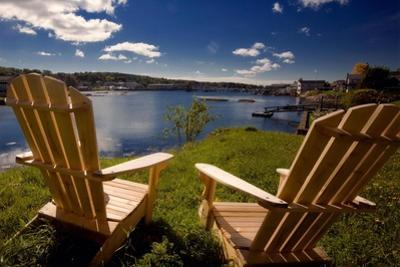 Adirondack Chairs Overlooking Booth Bay Harbor by George Oze