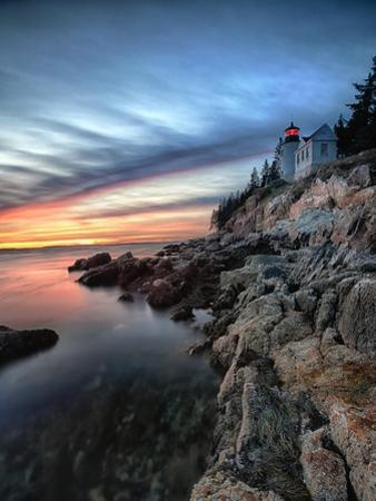 Bass Harbor Head Lighthouse at Sunset, Maine by George Oze