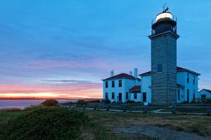 Beavertail Lighthouse Sunset, Rhode Island by George Oze