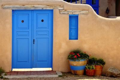 Blue Door And Adobe Wall, Taos, NM by George Oze