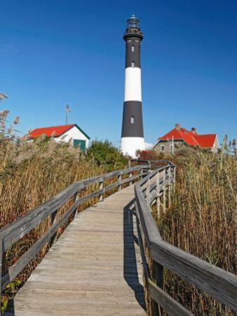 Boardwalk to Fire Island Lighthouse, NY by George Oze