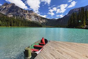 Boat at a Pier, Emerald Lake, Canada by George Oze