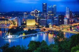 Downtown Pittsburgh Skyline at Night by George Oze