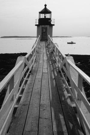 Lighthouse And A Fishing Boat, Maine by George Oze